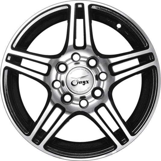 "13"" Onyx 1336 Black Glossy & Silver Flakes & Polished Metal"