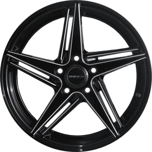 "17"" Onyx MQ693 Black Glossy & Silver Milling"