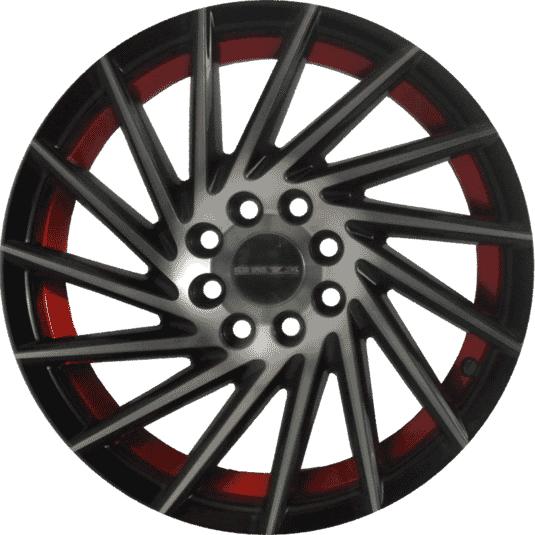 "15"" Onyx 1557 Black Glossy & Polished Metal w Red Ring 10h"