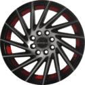 "16"" Onyx 1618 Black Glossy & Polished Metal w Red Ring"