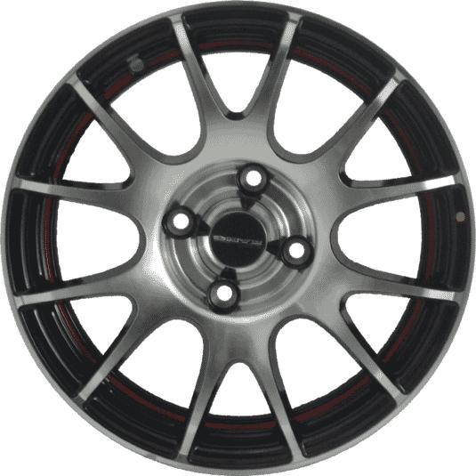"14"" Onyx M8540 Black Glossy & Polished Metal w Red Ring"
