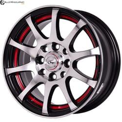 "13"" Onyx 1308 Black Glossy & Polished Metal w Red Ring"