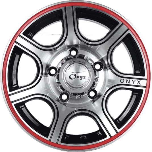 "15"" Onyx 1530 Black Machined Red Lip 139.7"