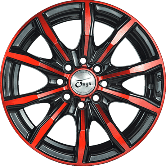 "15"" Onyx 1518 Black Glossy & Gloss Red 10 hole"